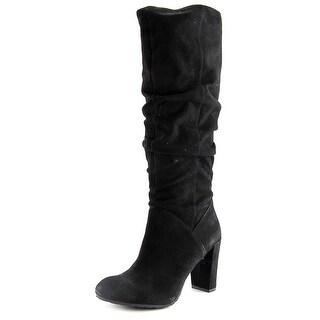 Nine West Shiryl Women  Round Toe Suede Black Knee High Boot