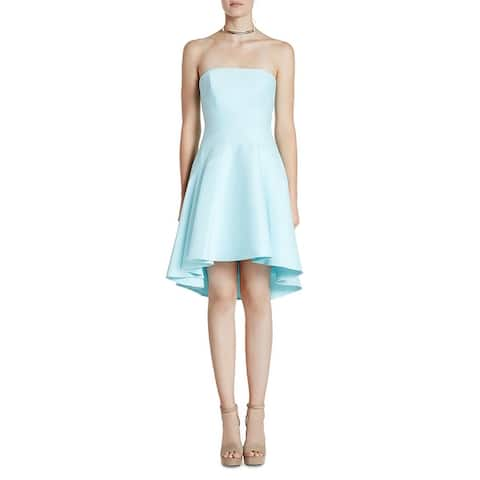 Halston Heritage Women's Strapless Fit And Flare High-Low Mini Dress - Blue