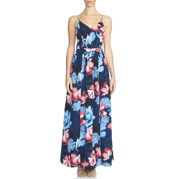 Shop 1. State NEW Blue Womens Size XS Floral-Print Lace-Up Back Maxi ... 5f8f447ff6