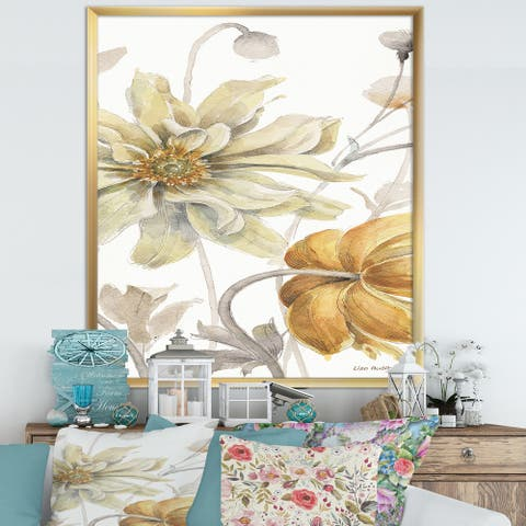 Designart 'Fields of Gold Watercolor Flower I' Cabin & Lodge Framed Art Print