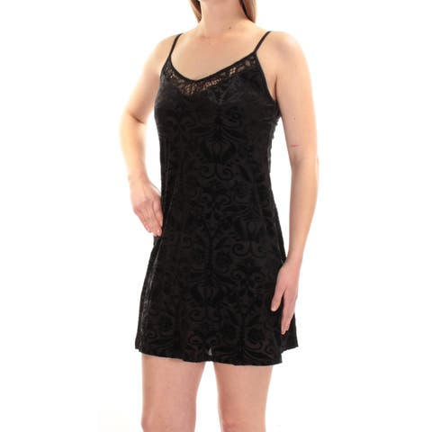 AS YOU WISH Womens Black Velvet Floral Spaghetti Strap V Neck Mini Shift Cocktail Dress Juniors Size: M