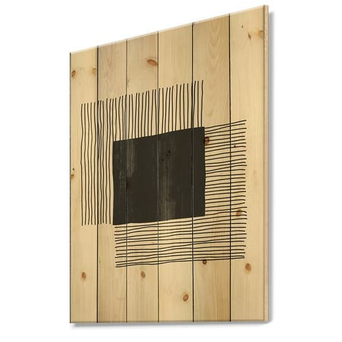 Designart 'Minimal Geometric Lines And Squares VI' Modern Print on Natural Pine Wood