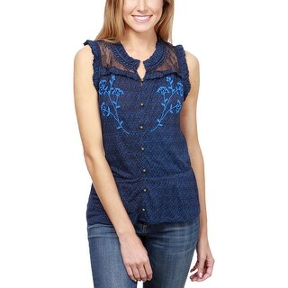 Lucky Brand Womens Pullover Top Knit Printed