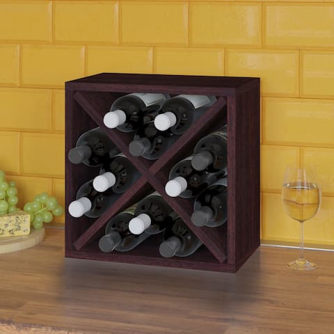 12-Bottle Wine Rack Cube Storage Espresso (Tool-Free Assembly and Uniquely Crafted from Sustainable Non Toxic zBoard Paperboard)