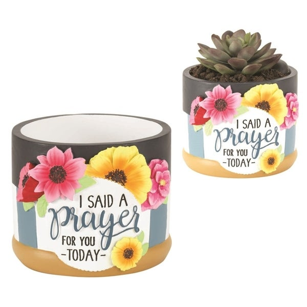 """3.5"""" Black and White """"I SAID A PRAYER FOR YOU TODAY"""" Printed Flower Pot - N/A"""
