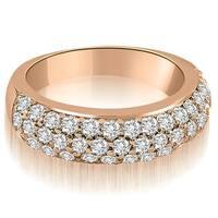 1.30 cttw. 14K Rose Gold Three Row Round Cut Diamond Wedding Ring