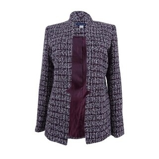 Tommy Hilfiger Women's Open-Front Tweed Blazer - pinot multi