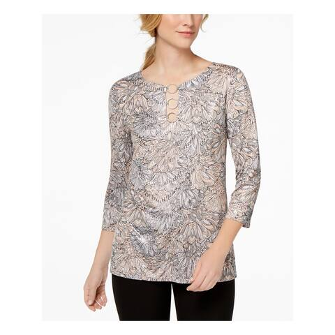 MSK Silver 3/4 Sleeve Blouse Top Size S