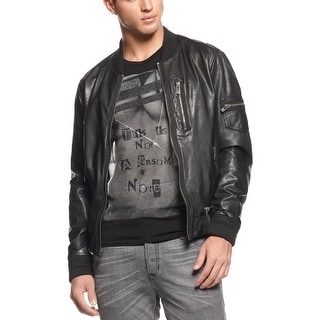 Rogue State Slim Fit Genuine Leather Bomber Jacket X-Large Black Full Zip