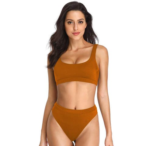 Dixperfect Two Pieces Bikini Sets Swimsuit Low Scoop Top High Waisted Cheeky ... - X-Large