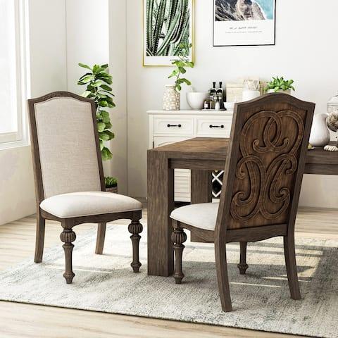 The Gray Barn Cornerways Rustic Ivory Fabric Side Chairs (Set of 2)