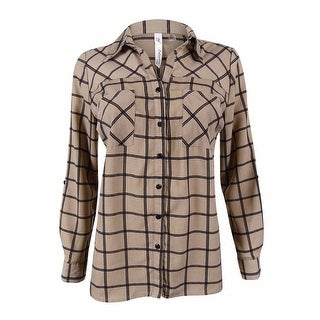 NY Collection Women's Tab Sleeve Utility Shirt