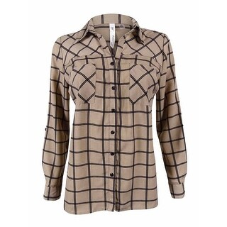 NY Collection Women's Tab Sleeve Utility Shirt - taupe roomtile