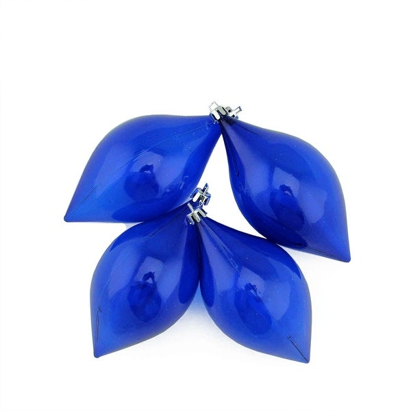 "4ct Lavish Blue Transparent Teardrop Shatterproof Christmas Finial Ornaments 5.25"" (130mm)"