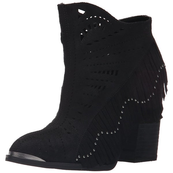 Not Rated Womens Fierce Fringe Fabric Closed Toe Ankle Fashion Boots
