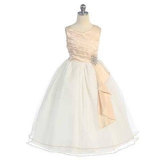 Chic Baby Taupe Surplice Double Layer Pageant Dress Girls 4-14