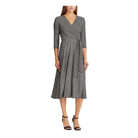RALPH LAUREN Black 3/4 Sleeve Midi A-Line Dress Size 8