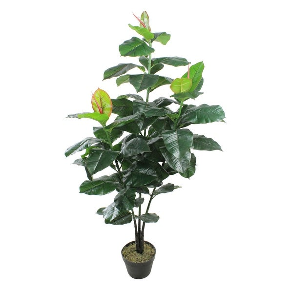 """51"""" Potted Green and Red Artificial Rubber Inspired Plant - N/A"""