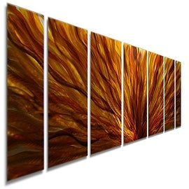 Statements2000 Red / Yellow / Orange Contemporary Metal Wall Art Painting by Jon Allen - Fall Plumage