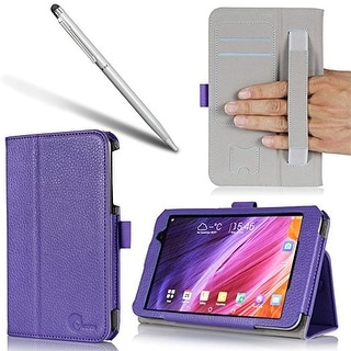 i-Blason Asus Memo Pad 7 Case, Leather Case Cover, Elastic Hand Strap, Multi-Angle, Card Holder With Bonus Stylus-Purple
