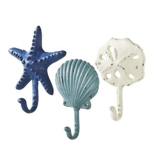 Set of 3 Ocean Inspired Starfish, Shell and Sand Dollar Cast Iron Wall Hooks 6.75""