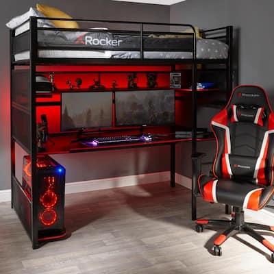 X Rocker Black and Red No-light Gaming Desk/ Bunk Bed