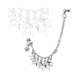 Stars & CZs Chain Linked Dangle Triple Star w/Gemmed Double Cartilage/Tragus Barbell Steel (Sold Ind.)