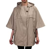 Hilary Radley Women's Hooded Cape with Button Front Fly