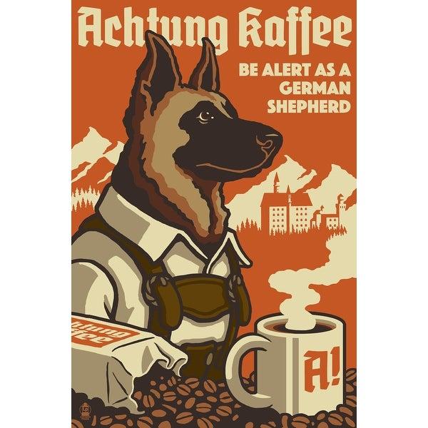 German Shepherd - Retro Coffee Ad - LP Artwork (100% Cotton Towel Absorbent)
