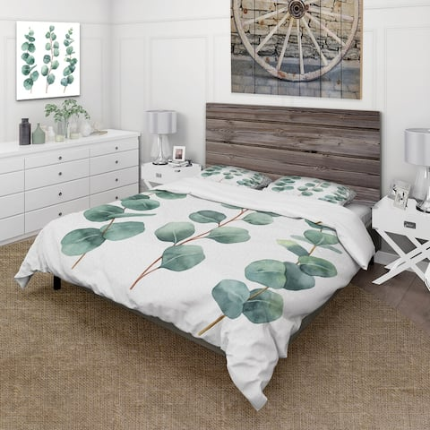 Designart 'Young Eucalyptus Leaves and Branches I' Traditional Duvet Cover Set