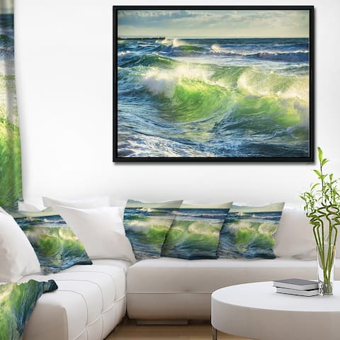 Designart 'Sunrise and Shining Waves in Ocean' Beach Photo Framed Canvas Print