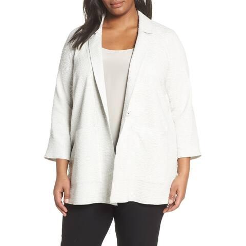 Eileen Fisher Women's White Size 1X Plus Textured Snap Button Jacket