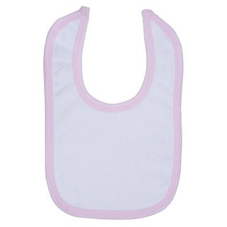 White Terry Bib with Pink Trim - Size - One Size - Girl