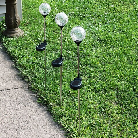 Sunnydaze Cracked Glass Ball with Multi Color LED Stake Solar Light - Set of 3