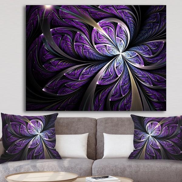 Glittering Purple Fractal Flower Large Floral Canvas Art Print On Sale Overstock 12209799