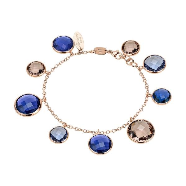 Zoccai 925 Amethyst & Rhodolite Bracelet in Rose Gold-Toned Sterling Silver
