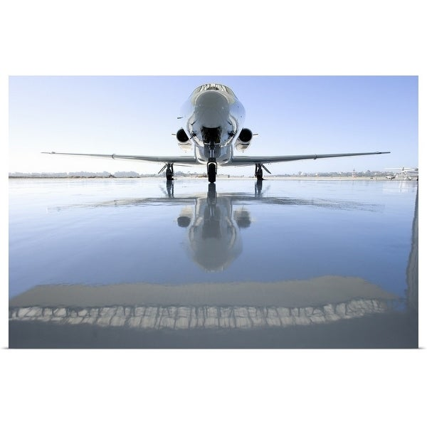 """""""Aeroplane on the runway, reflection on the ground"""" Poster Print"""