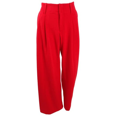 Bar III Women's Pleated Wide-Leg Pants (10, Chili) - Chili - 8