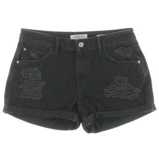 Guess Womens Denim Shorts Distressed Black Wash - 27