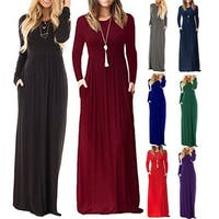 Plus size Women Long Sleeve Caual Solid color O-Neck Maxi Pockets Dress Long Loose Beach Party Tunic Dress