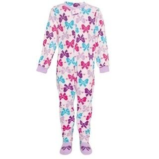 Vitamins Kids Little Girls Lilac Blue Bow Pattern Footed Pajama Jumper 3-4T