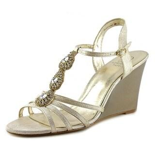 Adrianna Papell Kristen Women  Open Toe Leather Gold Wedge Heel