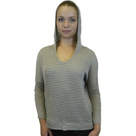 Women's Hooded Knit Cotton Blend Pullover Sweater Top Lace Elbow Patches