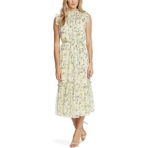 Cece Women's Wisteria Vines Sleeveless Dress Yellow Size 8
