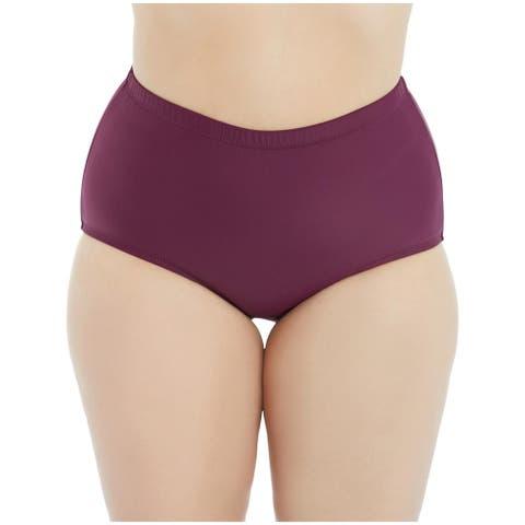 Raisins Womens Plus Brief Solid Bikini Swim Bottom - Mar - 14W
