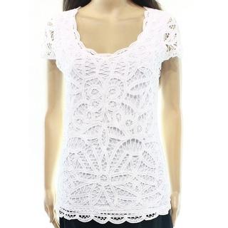 INC NEW Bright White Women's XL Scoop-Neck Stretch Crochet Overlay Top