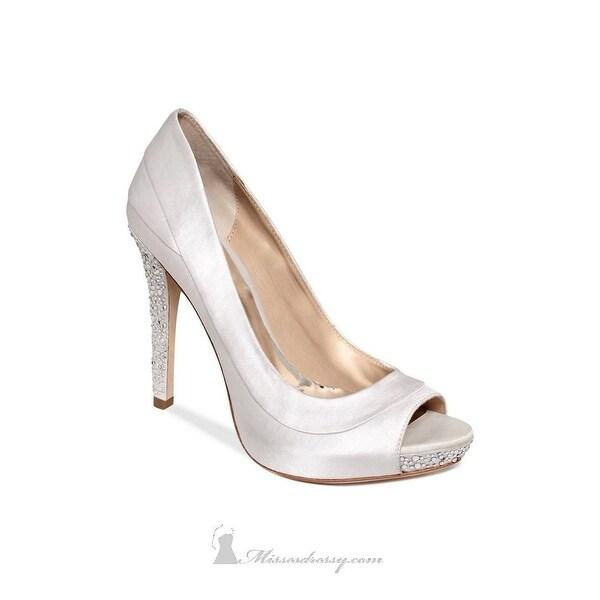 ABS By Allen Schwartz Aniston Women Peep Toe Canvas Heels - 10