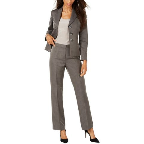 Le Suit Womens Peak Lapel Three Button Blazer Jacket