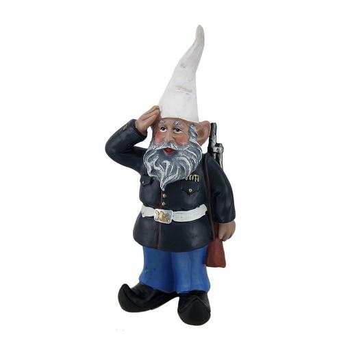 8 inch G.I. George Saluting U.S. Marine Military Garden and Shelf Gnome Statue - 8.5 X 4 X 2.25 inches