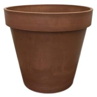 Spigo Contemporary UV-Protected Resin Flower Pot, 10 Inches, Terracotta